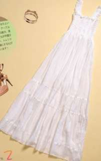 Women Girls Fashion Cotton White Long Sundress Dress M