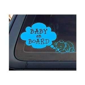 Bear Baby on Board Car   8 LIGHT BLUE   Vinyl Decal / Window Sticker