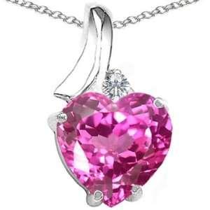 CandyGem 14k Gold Lab Created Heart Shape Pink Tourmaline and Diamond