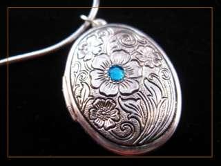 blue sapphire flower oval picture locket charm pendant necklace 6363