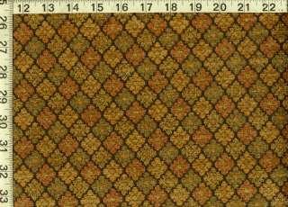 Diamond Lattice Chenille Upholstery Fabric Rust