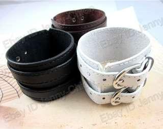 Mens TRENDY PUNK 2 Layer Belt Leather Wristband Bracelet ZP_73 Cool