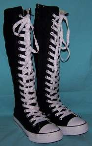 LACE UP KNEE HIGH TOP SNEAKERS BOOTS SIZE 10 BLACK WHITE LACES
