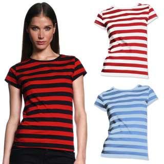 Shirt S XL Horizontal Black White Red Blue Stripes Womens Cute
