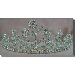 Bridal Wedding Tiara Crown With Crystal Flowers 68446