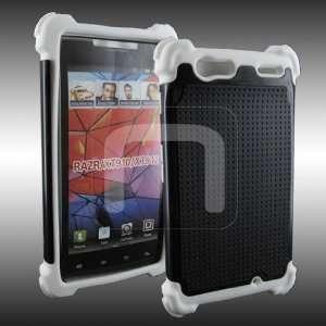 Dual Layer Black Hard Rubber + White Soft Silicone Skin Case 2PC Cover