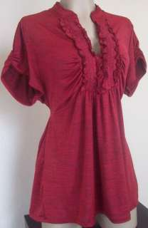 New Heart Soul Womens Plus Size Clothing Red Shirt Top Ruffle Blouse