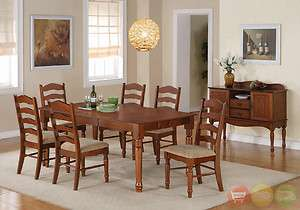 Oxford 8 Piece Dark Oak Dining Room Set Table & Chairs w/ Server