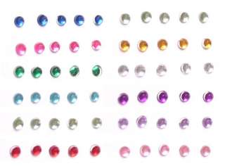 12 COLOR WHEEL ROUND SHAPE NAIL ART TIP RHINESTONES GLITTERS