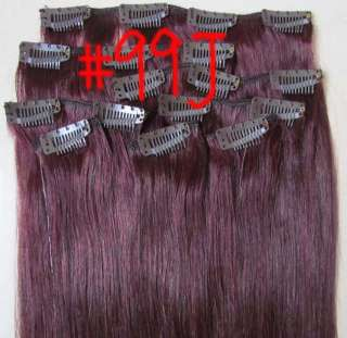 20Remy Hair Clips In Extensions 8pcs Dark Red#99G,100g