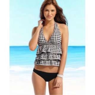 Coco Rave Ruffle Tiered Halter Tankini Check 2pcs swimsuit 36DD/Large