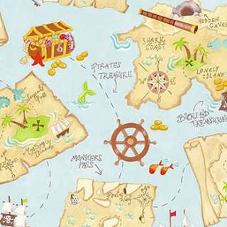 nEw TREASURE MAPS Pirates Ships Chests WALL PAPER MURAL