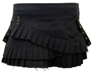 Spin Doctor Steampunk Ruffle Mini Skirt Black Gothic