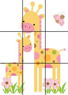 JUNGLE GIRAFFE PINK BROWN GREEN BABY GIRL NURSERY WALL ART MURAL