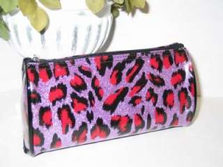 LEOPARD ~ ANIMAL PRINT COSMETIC CASE ~CLUTCH~BAG~PURPLE