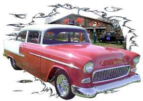 You are bidding on 1 1955 Red Chevy Bel Air b Custom Hot Rod