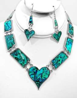 of Hearts Green Abalone Paua Silver Heart Necklace and Earrings