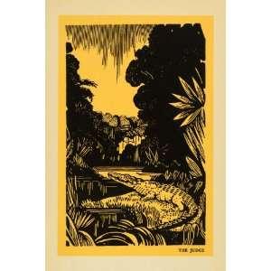 1939 Lithograph Judge Crocodile Art Swamp Africa Zimbabwe