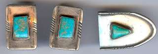 VINTAGE NAVAJO INDIAN STERLING SILVER & TURQUOISE BUCKLE FINDINGS