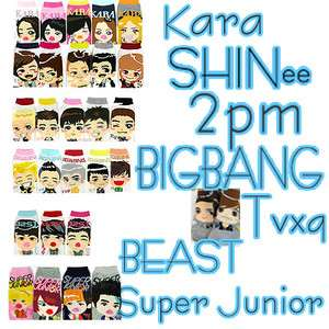 POP SHINee,BIGBANG,BEAST,2PM,2Ne1,TVXQ,KARA ,Super junior Socks