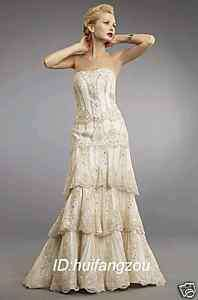 Stunning New Ivory Lace Wedding Prom Dresses Gown 12 14