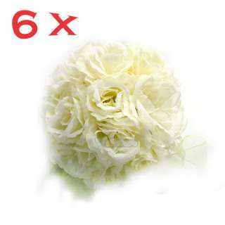 Pcs Ivory Silk Rose Kissing Ball Wedding Flower Decor