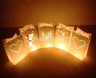 10 white paper candle lantern bags wedding party favor