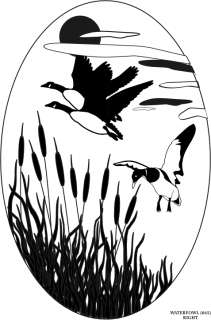 10.5X16 WATERFOWL static cling etched glass decal
