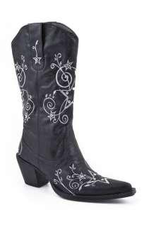 NIB Womens Roper Fashion Black Faux Leather Rockstar Western Cowgirl