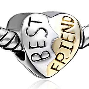 Charms Best Friends Heart Bead Fits Pandora Charms Pugster Jewelry