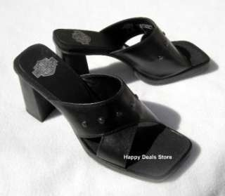 NEW HARLEY DAVIDSON STARLET BLACK CROSS SANDAL FLIP FLOP ANKLE