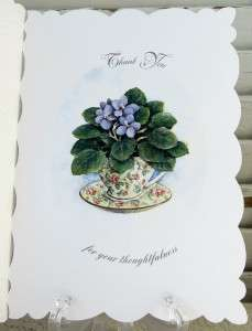 Carol Wilson Thank You Card African Violet In Tea Cup Lace Like