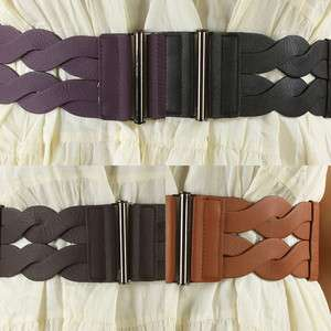 Vintage Twisted Elastic Stretch High Waisted Belt Bar Closure NEW