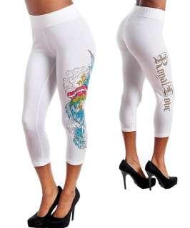 I59 White,Cotton,Tattoo,Rhinestones,Capri Leggings  1X