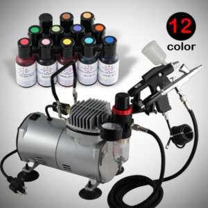 12 Ameri Food Color 2 Airbrush Air Compressor Kit Dual Action Cake ...