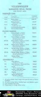 1959 Volkswagen Price List Brochure Beetle Karmann Ghia
