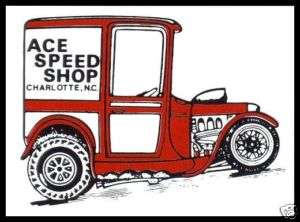 60S VINTAGE RACING DECAL   ACE SPEED SHOP CHARLOTTE NC |