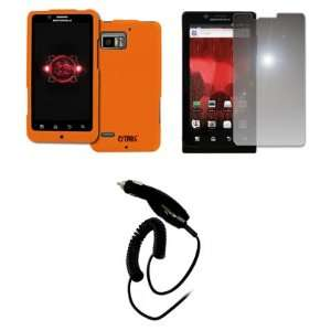 EMPIRE Verizon Motorola DROID Bionic Orange Rubberized Hard Case Cover