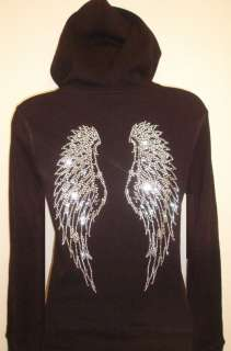 RHINESTONE ANGEL WINGS ZIPPER HOODY SWEATSHIRT TSHIRT PLUS SIZE 1XL