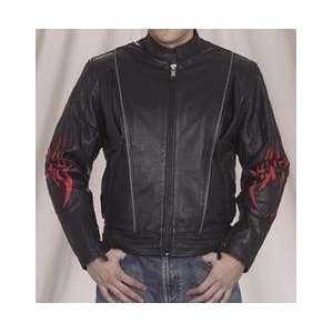 Mens Leather Motorcycle Jacket with Flames: Automotive