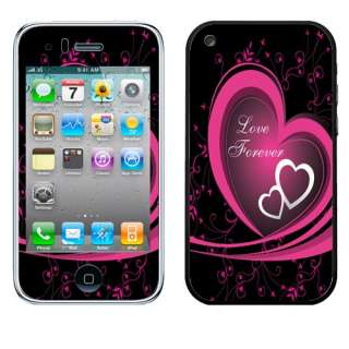 For Apple iPhone 3G 3GS AT&T Phone Hot Pink/ White Love Forever Decal