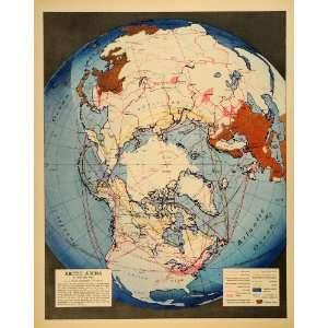 1942 Print Map Arctic Arena Richard Edes Harrison Air Sea