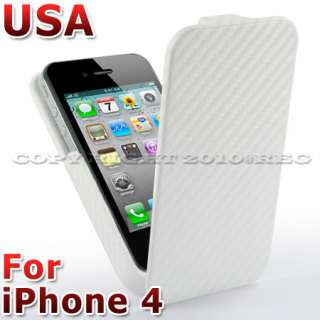 White Carbon Fibre Flip Hard Case Cover For iPhone 4 4G