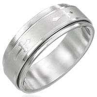 Silver Stainless Steel Cross Spinner Ring Sz 11 b18