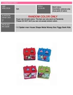 Package1*Spider man House Shape Metal Money Box Piggy Bank Kids