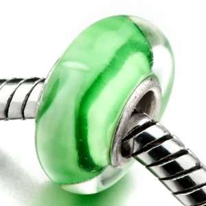 Green White Stripes Murano Glass Bead   Pandora Chamilia Biagi Beads