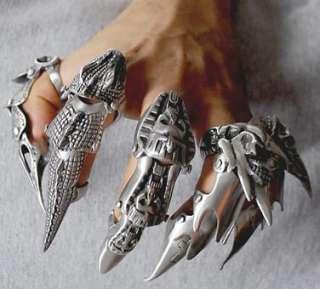 Silver Pewter Full Finger Armor Ring Punk Rock Biker