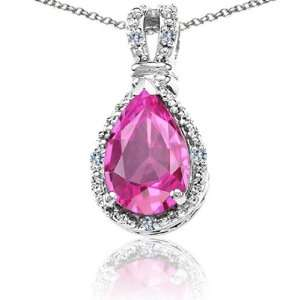 Gold Lab Created Pear Shape Pink Topaz and Diamond Pendant(Metal