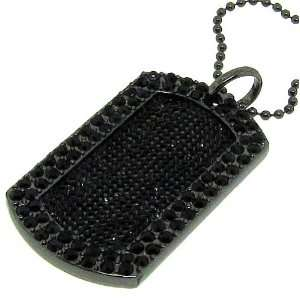 Mens new Luxury black full ice hip hop bling dog tag Jewelry