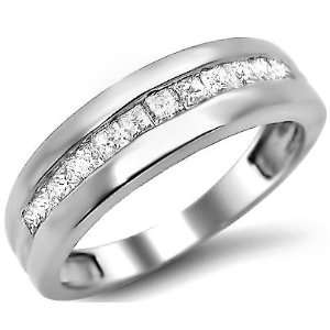 Princess Cut Diamond Wedding Band in 14k White Gold (10) Jewelry